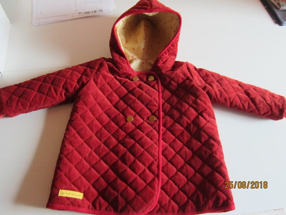 Hooded red Cordoroy Jacket with creme designed lining Original Handmade Parka, Coat unisex made to order Winter, Fall