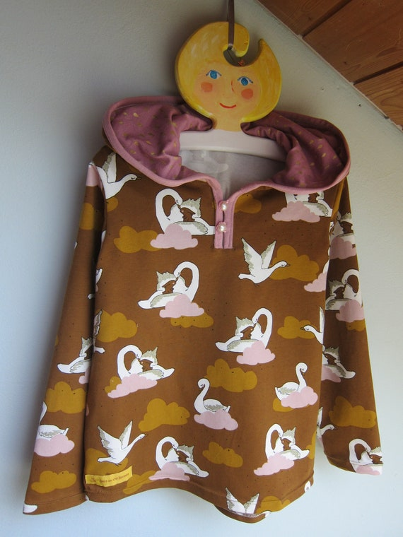 Glitter Swan with Bunny Baby Sweat shirt Pullover in Hoody with Bio Sweat in fall colors, Size 6
