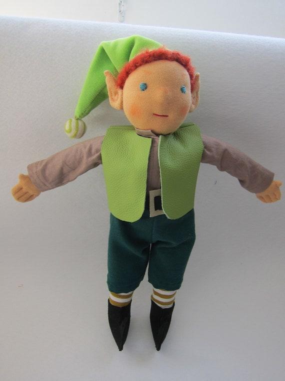 Strubel our mischievous kobold,  scallawag, dwarf, gnome Waldorf inspired, 11.75 inches, boy's doll,
