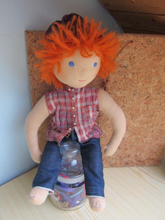 Fabric doll, Adventure Tom like in Tom Sawyer, Original Waldorf style, 16.75 inches, boy's doll, scallawag doll