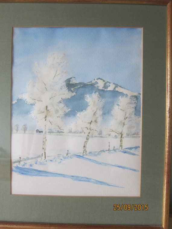 Winter birchtrees near the alps, original watercolor painting with gold frame