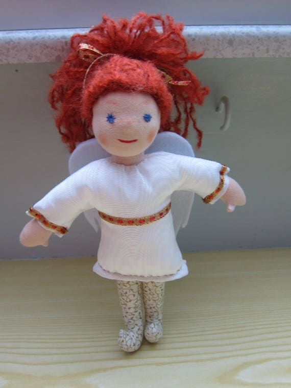 Guardian Angel, Angel doll Cecile with auburn mohair hair, white Moiré dress, felt wings, Waldorf inspired, Christmas,