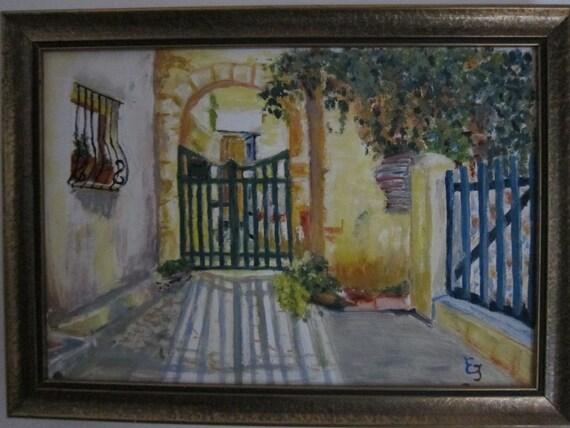 Shady interior courtyard, Oil Original Framed,IMPRESSIONIST Art