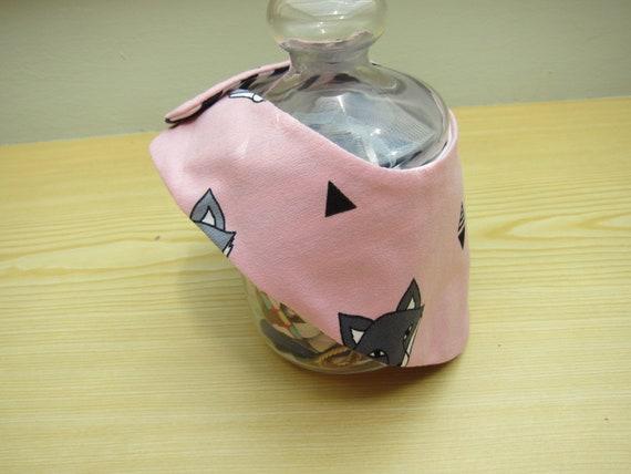 Pink Foxes Baby bib,  reversible,