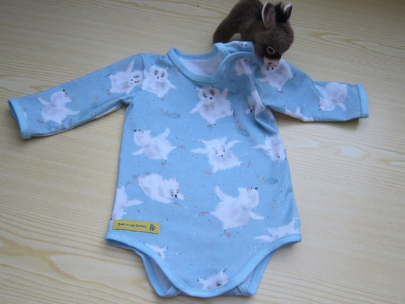 Owls Flight Long sleeved Baby Body in light blue, organic Jersey size: 3-6 Mo.