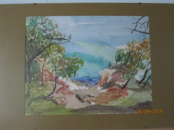 Watercolor painting, Germany's Northcoast, Original Landscape