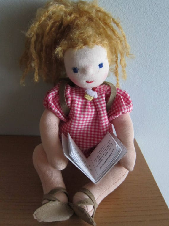 Fabric doll, Ginnie Booklover with book and backpack, shelf sitter, Waldorf style, school beginners