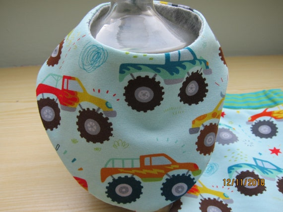 Reversible Baby drooling scarf bib, monster trucks babies and children, Bees on the Bonnet design,