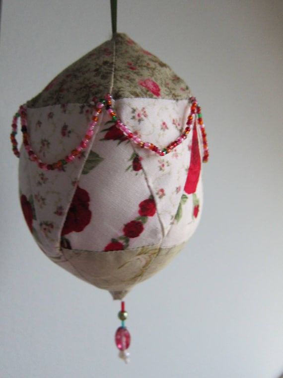 Roses and Spice Patchwork Ball, Christmas Deco, Ornament, 11.75 inches, Easter, Mothers day, Valentine's Day, Anniversary, Present