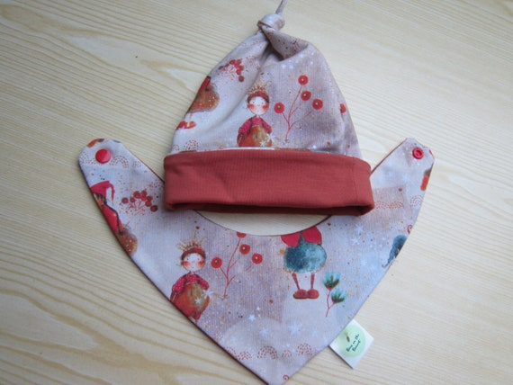 Fairy hat and bib in size 1-3 mo,  Autumn beanie and scarf in size (56-62) sweat, ecofabric for Babies