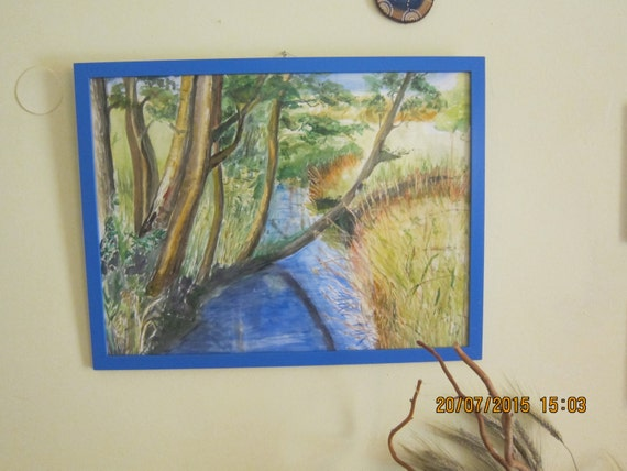 Original Watercolor Painting The Sempt Creak with Blue Frame