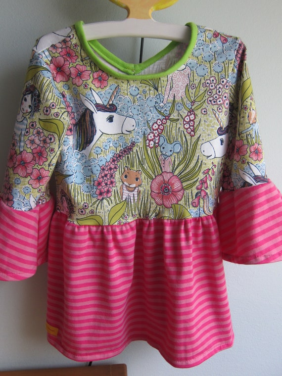 Swinging  Unicorn tunica top for Girls US size 8-9 Size 110, organic jersey Fall dress, ecological fairy tale blouse