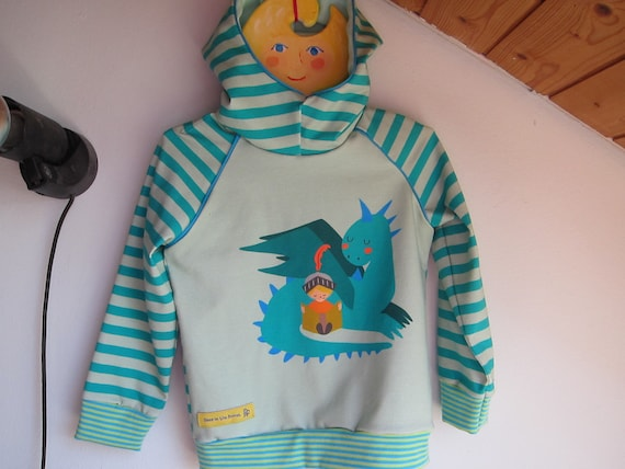 Autumn Baby Jersey Pullover with Hood, dragon-love-knight-reading-book Hoody with Bio Jersey in mint colors. 2T (EU 86)