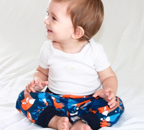 Baby Bloomers pants with reversible bib set, Foxes and Owls in the Night, Choose size