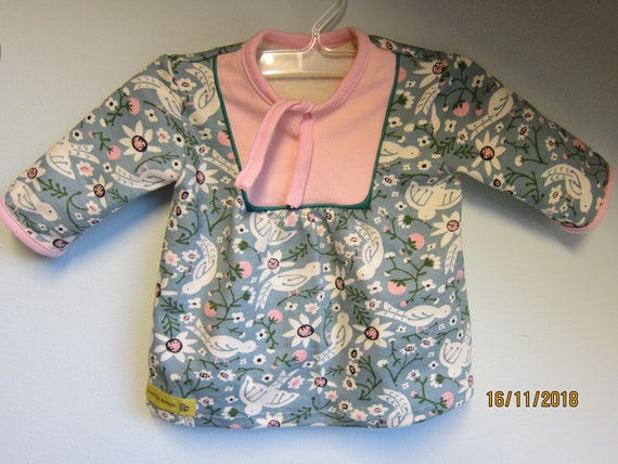 Bird tunic top for Girls US size 3-6-9 mo Size 56, organic fairytale jersey dress for festive days