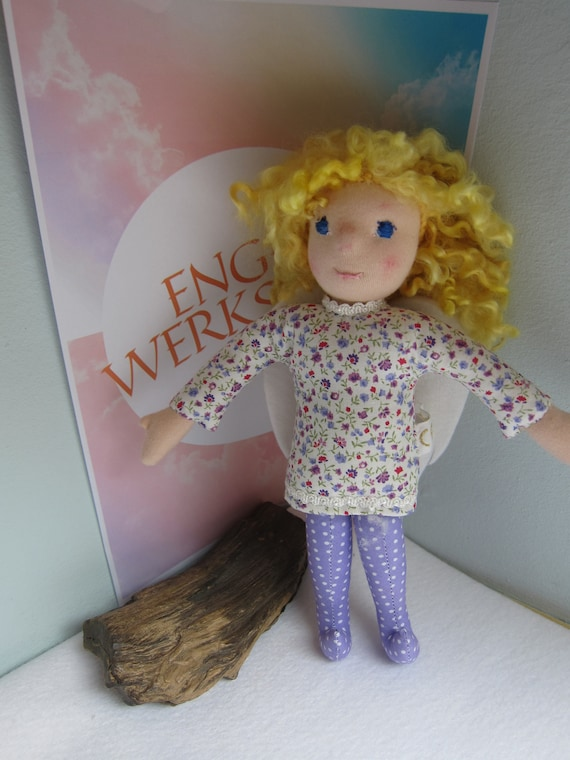 Guardian Angel lilac fabric doll, Angel doll  Anemi , handmade, Christmas, collector's doll, Get-well doll, Waldorf 10.5 in to Order