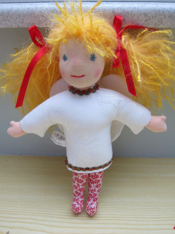 Angel doll Angeliqué Guardian Angel, with golden mohair hair, white jacquard dress, felt wings, Waldorf inspired,