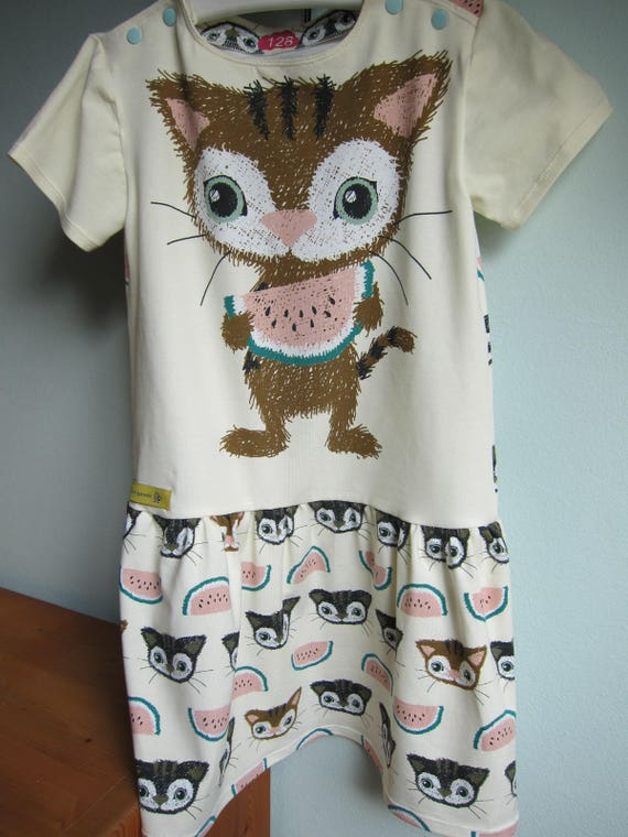 Girl's cat Summer dress with children parade, animals, ballons, US size 8-9 Eur 128