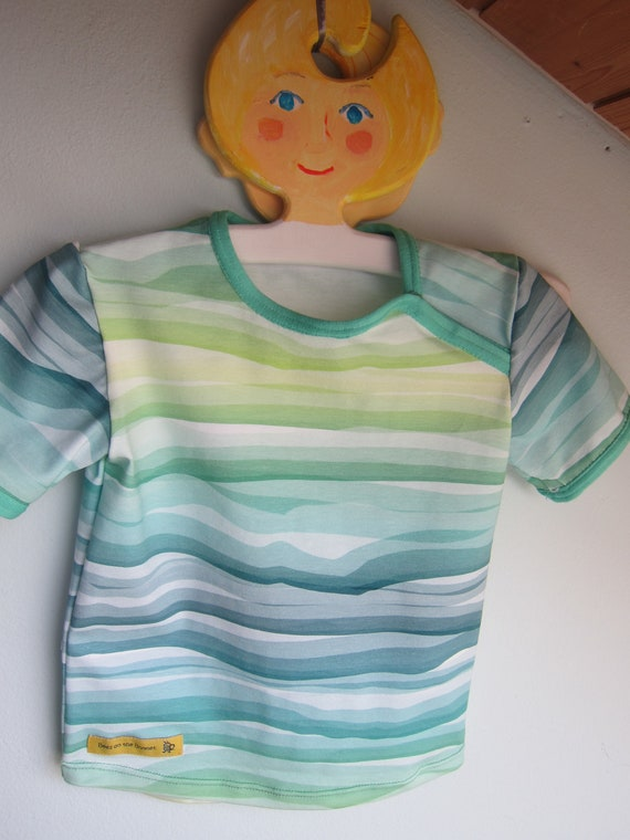Baby t-shirt watery waves in green to blue or pink to turquoise eco Jersey 18 mo  size or to order, Summer fresh