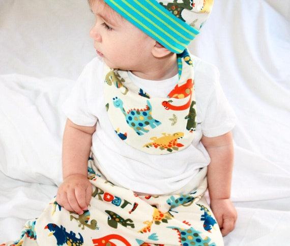 Dinosaur Baby Bloomers  ecopants with reversible bib set 6-9 mo