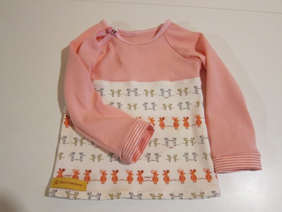 Whimsical pink Mous Baby shirt baby top order size