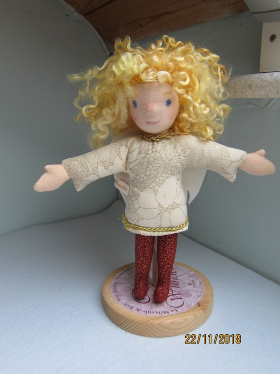 Guardian Angel doll Julietta Angel doll white wings, red star dust stockings Christmas, baptism, baby shower, Get-well doll Waldorf 10 in