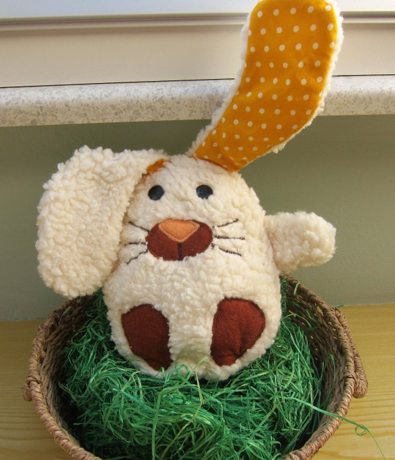 Egg with surprise Bunny, Stuffed Animal called Egghead, Easter bunny, Fluppy 7.5 x 9in, Easter decoration, Patchwork,  Spring