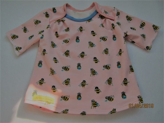 Busy-as-a-BEE, T-shirt long arm organic with romantic bees Size US 12 mo  80 Easter, Spring, Tunica