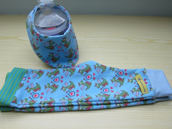 Baby Pants and reversible bib set,  Dragon and Hearts Handmade, size 62-68