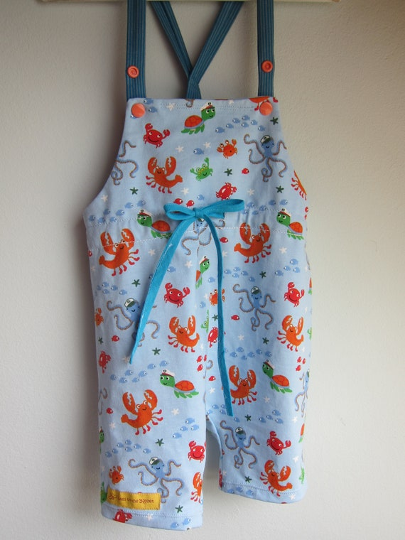 Seefair Summer Rompers, Sunsuit, Baby Body Seeworld, crabs, oktopuses, turtles, fish Marine life, organic Jersey size: 6 Mo.