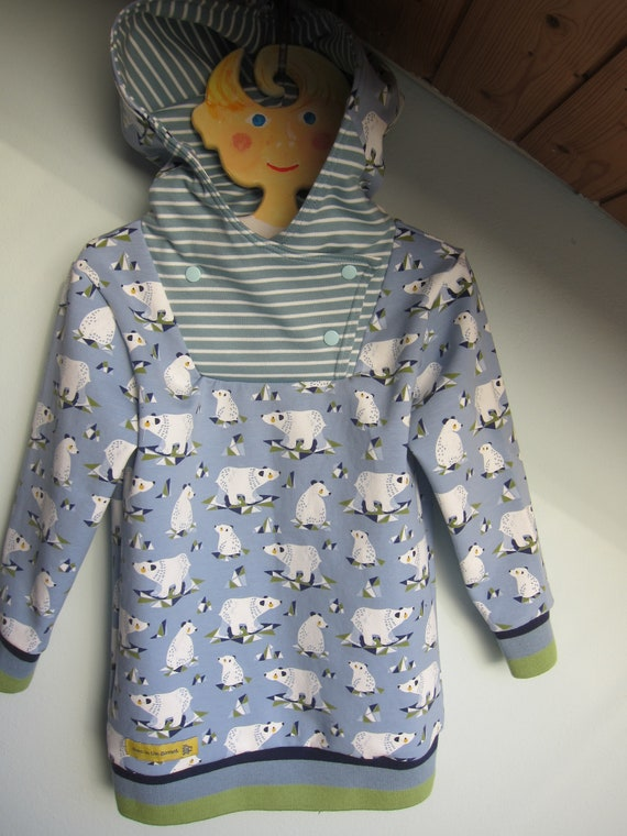 Winter Baby lang arm Pullover with Hoody, Polar bears Bio sweatshirt in winter blue and white colors. US size 5 (EU 110)