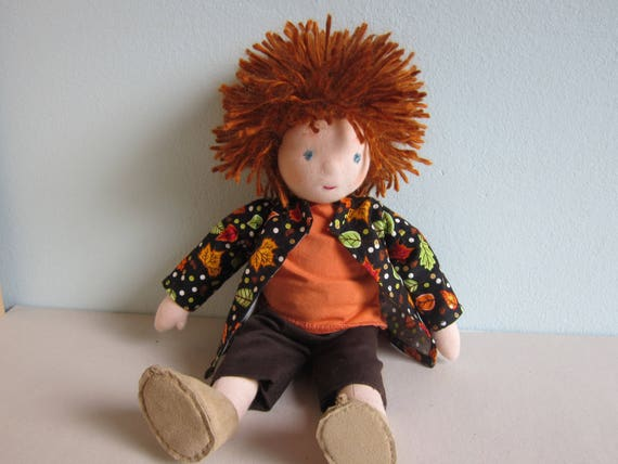 Fabric doll, Nolan forest forager, Original Waldorf style, 12.5 inches, boy's doll, scallawag