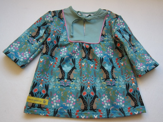 Bunny tunica for Girls US size 6 mo Size 68, organic  jersey topfor Ostern