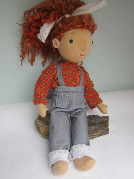 Fabric Doll Sweet Posy with her goose friends, red sheeplock hair in  12 inches, OOAK, Waldorf inspired,