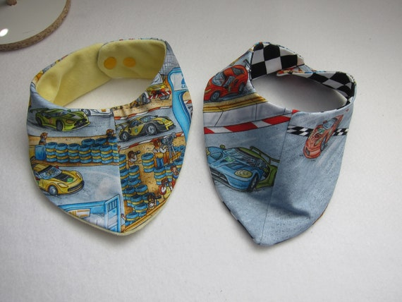 A Baby set reversible bibs cars racing or pit stop motive Bees on the Bonnet