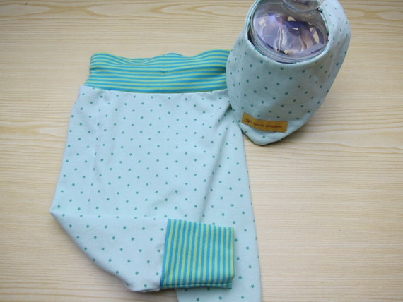 Baby Pants with light green stars with bib size to order bio Jersey pastel leggings