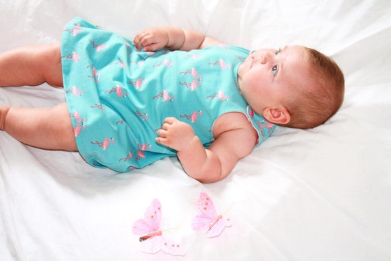 Flamingo Dance Baby's turquoise summer dress, size 9-12 mo,