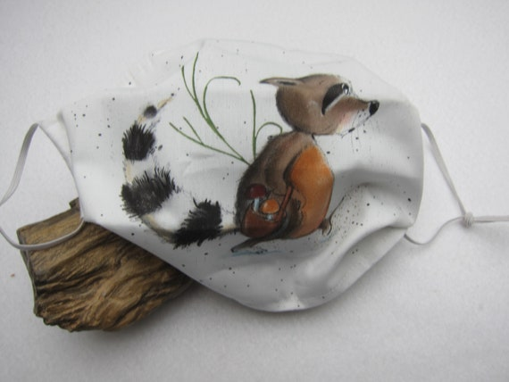 Children's mouth, nose masks racoon motive made of 2 pieced cotton, ideal for school children, not a medical product