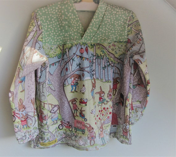 Organic girl's kimono tunica, Easter Sunday, t- shirt top ORGANIC  long sleeve-  infant Size 3 years.