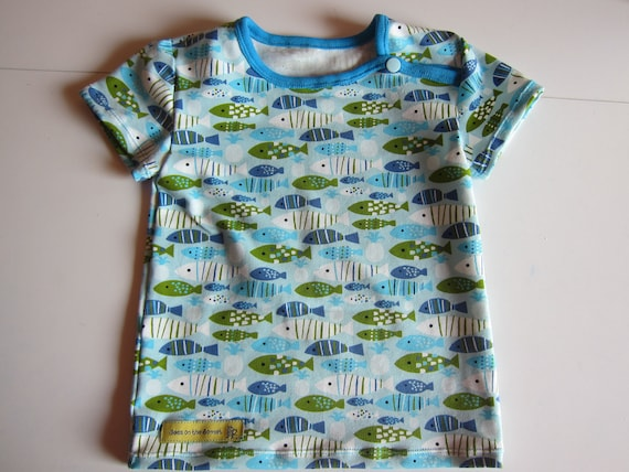 Marine fish baby t-shirt,  Bio shirt baby top- 74 cm, 6 Mo, holiday tee