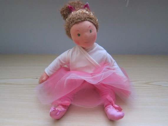 Soft fiber Doll, Marieanella Ballerina  doll 12 in, Waldorf inspired, pink doll, doll with movable arms and legs, Ballett doll