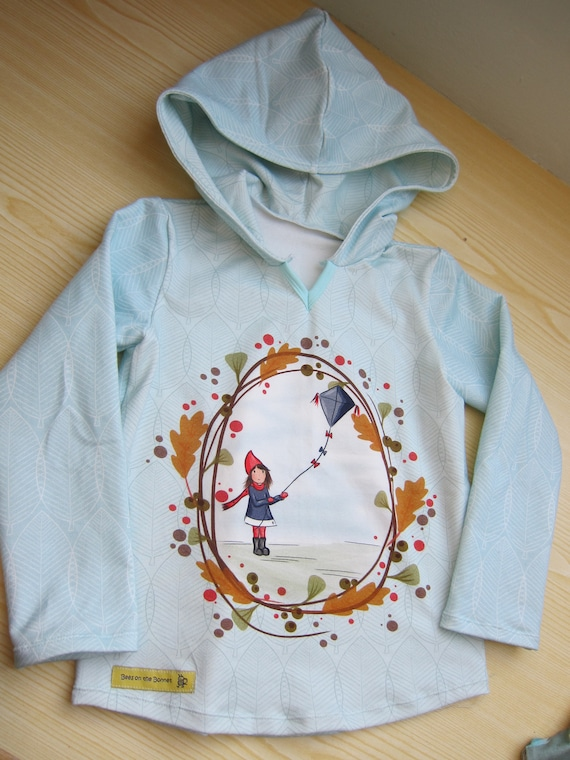 Kite fly Baby Sweat shirt Pullover in Hoody with Bio Sweat in light blue colors, Size 5 (110)