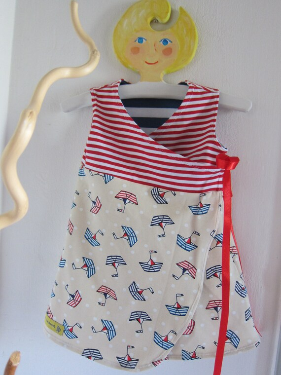 Sailing Away reversible dress 3-6 mo, 56 cm girl's wrap dress, Boats dress