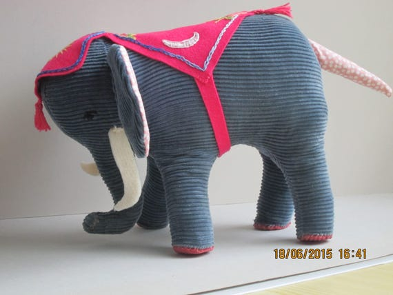 Cuddly Stuffed Elephant, Chico our elephant is trumpeting his arrival, Size:8 x 10 inches , Stuffed animal, Vintage
