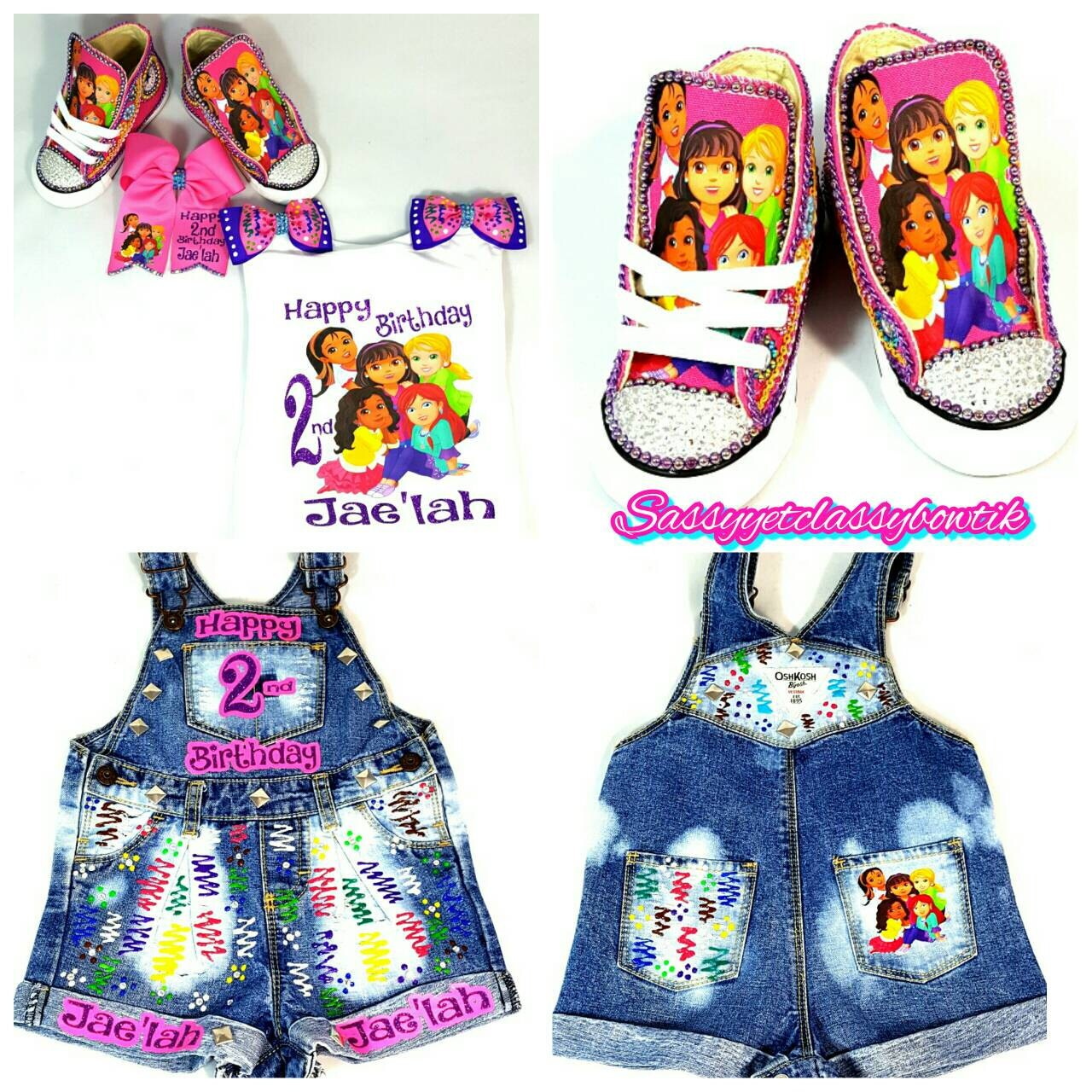 Custom Overalls Dora Birthday Outfit Girls Shirt Set Romper Denim
