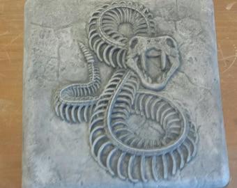 FREE SHIPPING - Hydro Stone Bone Rattle Snake Wall Hanging