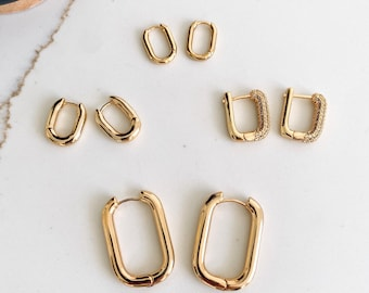 Gold Oval Thick Hoop Earrings   Gold Everyday Earrings   Simple Thick Hoop Earrings   CZ Pave Hoop Earrings