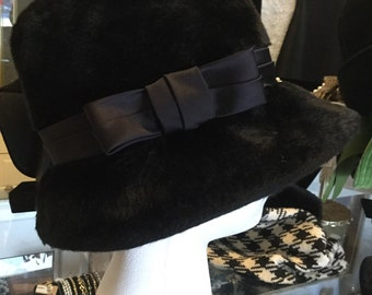 Felted cloche with satin bow
