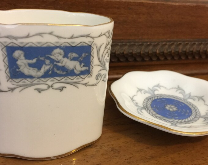COALPORT Bone China | Coalport Revelry | Cupid | Blue and White | Trinket Dish & Small Matchstick Pot | Tooth Pick Holder | Cabinet China