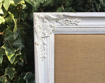 BURLAP WEDDING BOARD - Wedding Planner Board - Shabby Chic Style Notice Board - Framed Burlap Message Board - Hessian Board - Jute Board